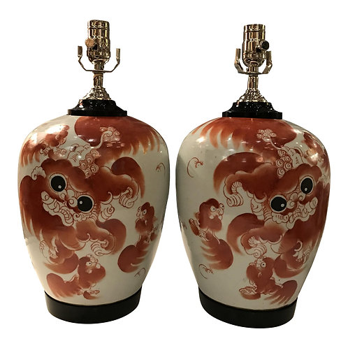 Pair of Custom Foo Dog Ginger Jar Table Lamps