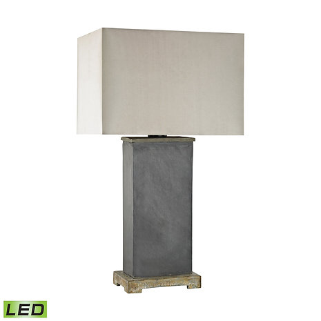 Slate Stone Outdoor Table Lamp With Taupe Sunbrella Shade
