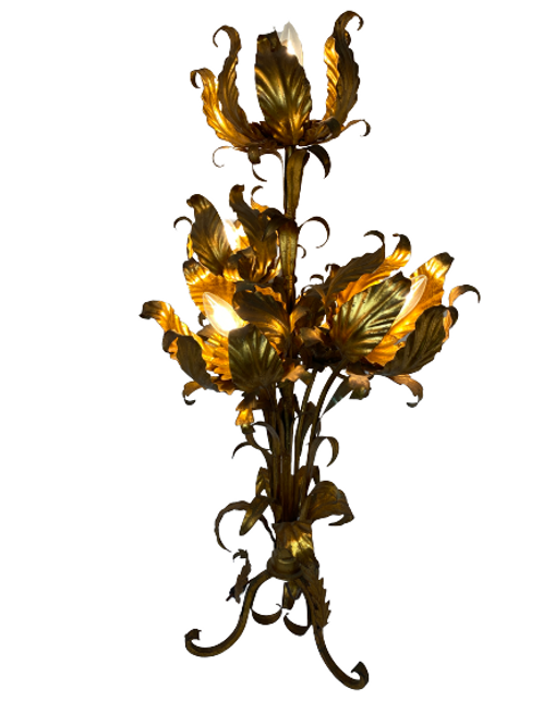 Whimsical Brass Flower Table Lamp