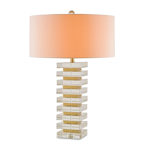 Stacked Optic Crystals and Brass table lamp