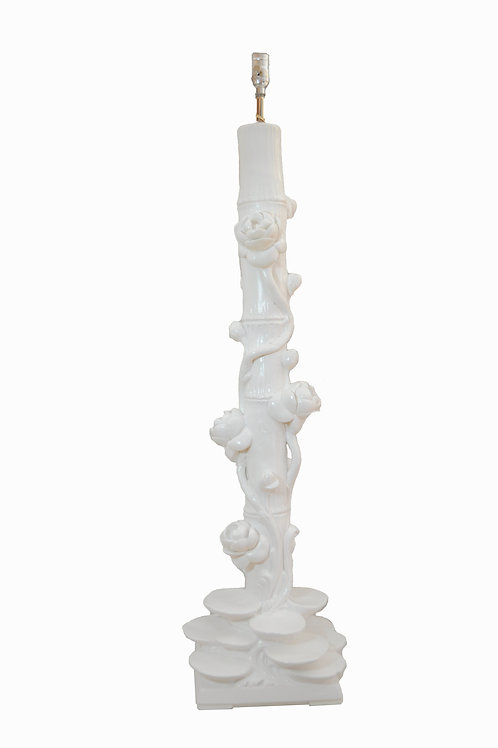 Vintage Italian Serge Roche Style Floor Lamp in White Plaster