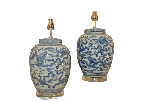One-of-a-kind Pair B/W Ginger Jar Table Lamp