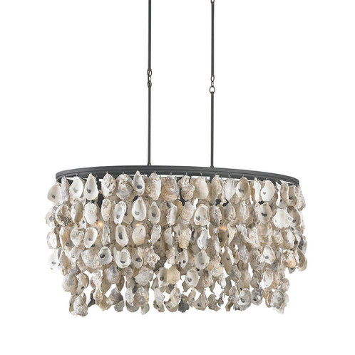 Coldwater natural oyster chandelier heath company lighting our coldwater chandelier features strands of natural oyster shells hung along the finished wrought iron framework casting a warm ans inviting light through mozeypictures Images