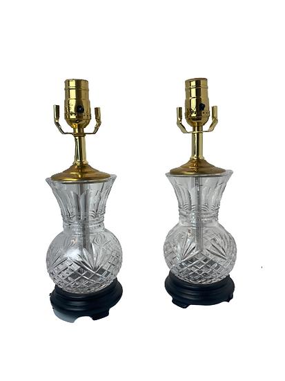 Vintage Crystal Table Lamp Pair