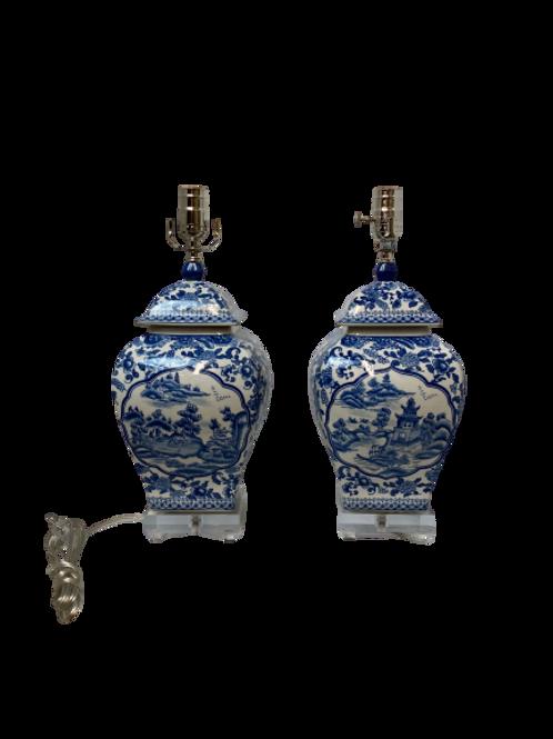 Vintage Bule and White Asian Motif Pair