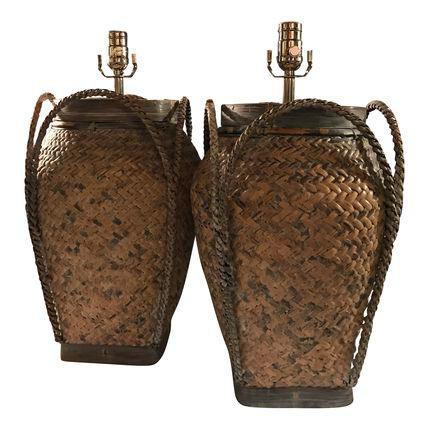 Vintage Basket Weave Rattan Table Lamp Pair