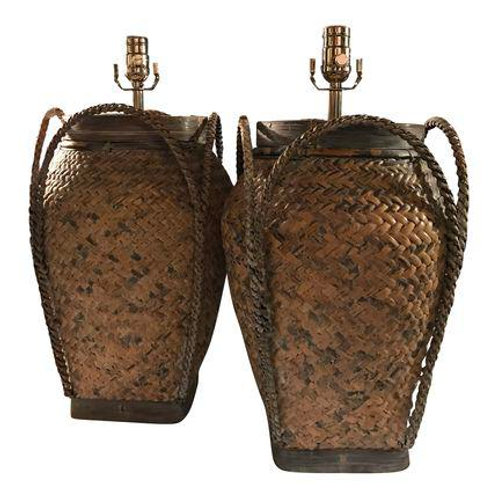 Vintage Basket Weave Rattan Table Lamp Pair