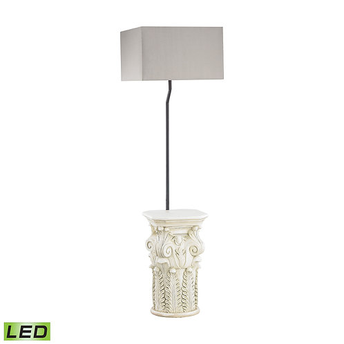 Grecian Pedestal Outdoor Floor Lamp with Taupe Sunbrella Shad