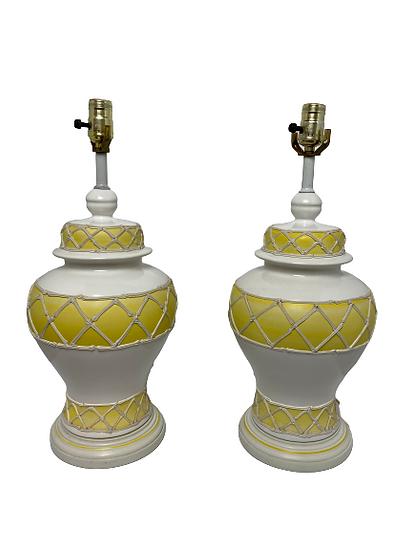 Vintage Ginger Jar Table Lamp With Bamboo Basket Weave