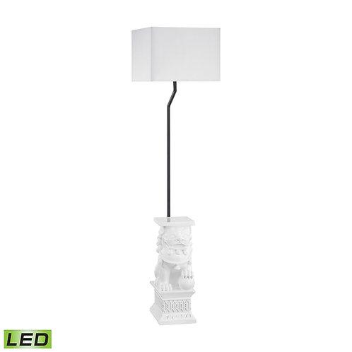White Foo Dog Pedestal Outdoor Floor Lamp with Sunbrella Lampshade