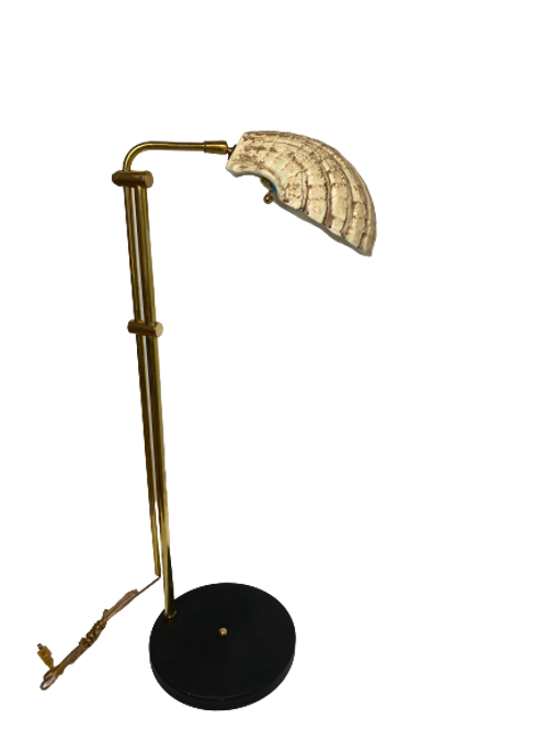 Vintage Brass and Marble Floor Lamp With Shell Shade