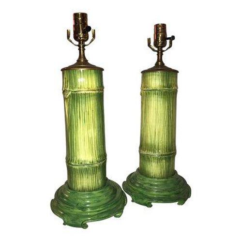 Vintage Ceramic Bamboo Lamp Pair