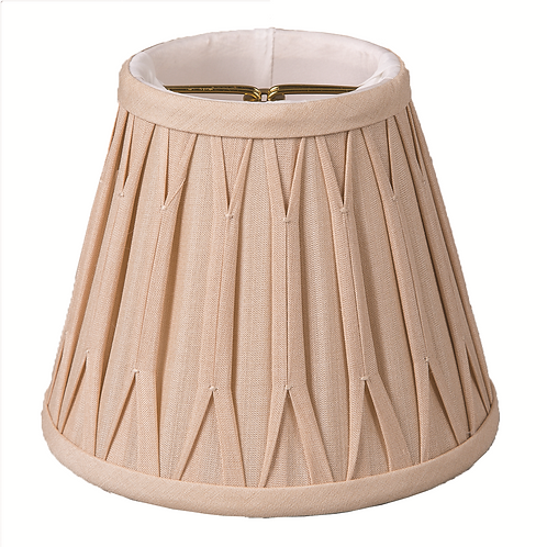 "Silk Chandelier Empire Smock-Pleated Lampshades (4-5"") in Tan"
