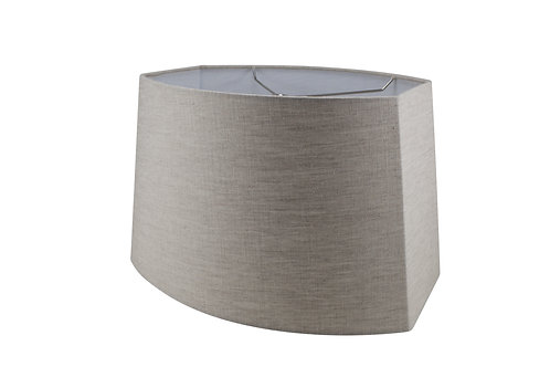 "Cut Corner Oval Style Lampshades (13-19"") in Gray Linen"