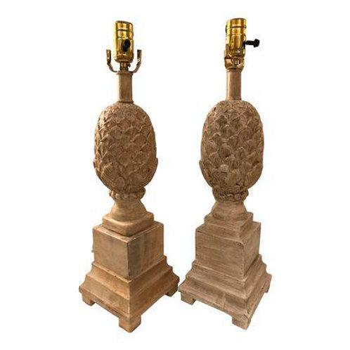 Vintage Carved-Wood Pineapple Lamp Pair