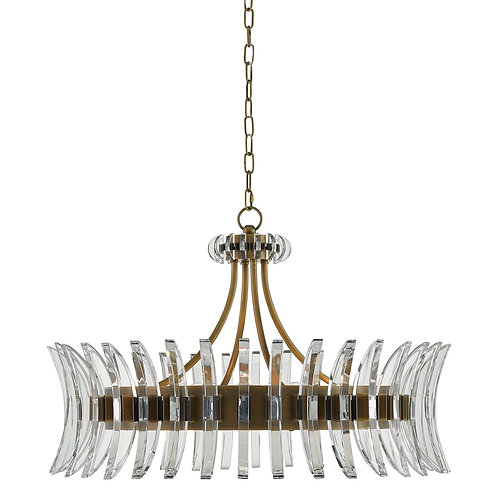 Siren Optic Crystal and Brass Chandelier