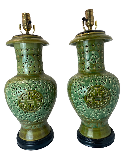 Vintage Pierced Ceramic Green Table Lamp Pair