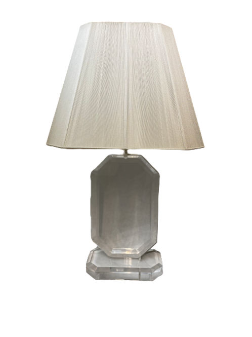 Vintage Lucite Table Lamp With String Shade
