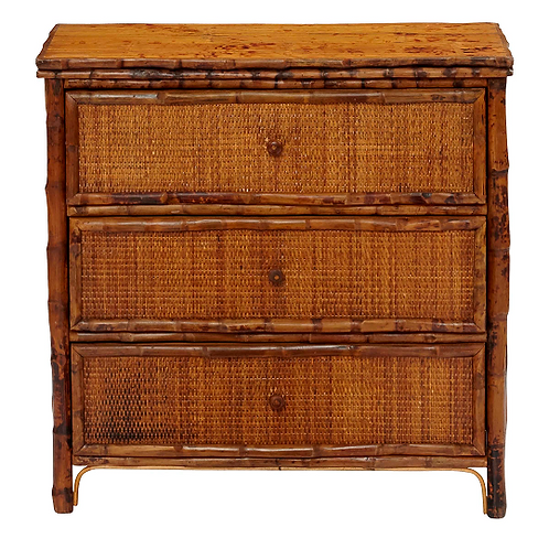 3-Drawer Bamboo & Rattan Bachelor Chest in Antique Tortoise