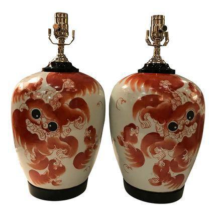 Chinese Dragon Ginger Jar Table Lamp Pair