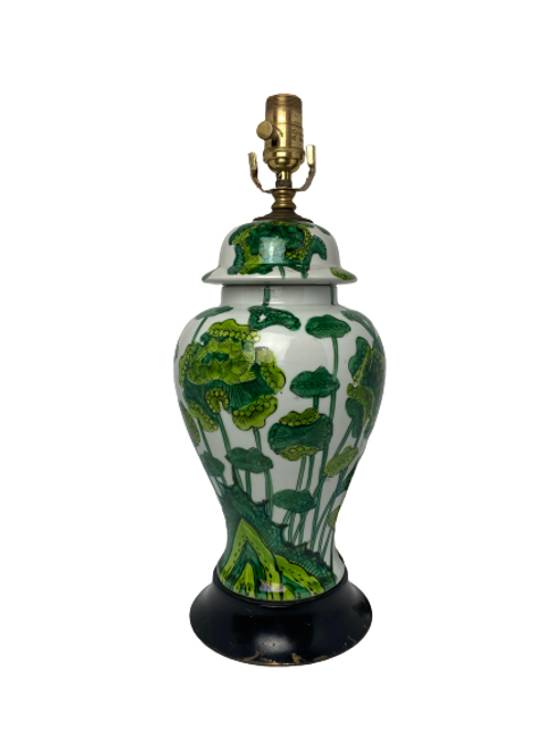Vintage Green Floral Table Lamp