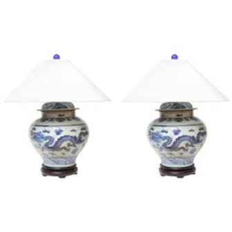 1940s Dragon Temple Jar Table Lamps with Custom White Coolie Lampshades