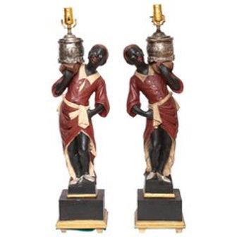 Vintage Pair of Italian Blackamoor Table Lamps