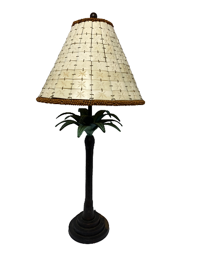 Palm Tree Table Lamp With Faux Bone Shade