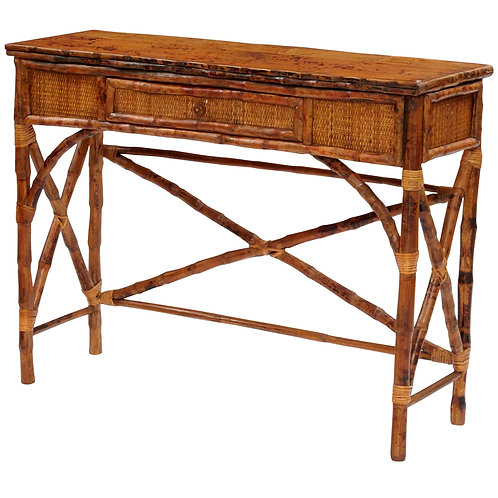 English Bamboo Console Table in Antique Tortoise