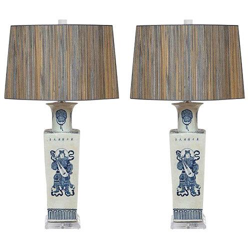 Pair of Custom Blue & White Warrior Table Lamps