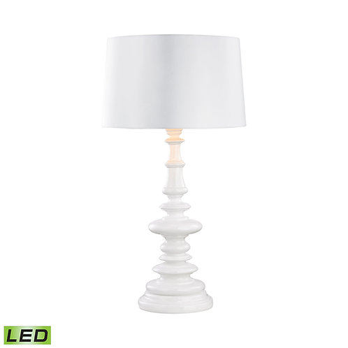 Gloss White Outdoor Table Lamp with Sunbrella Lampshade