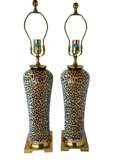 Pair of Vintage Leopard Table Lamps