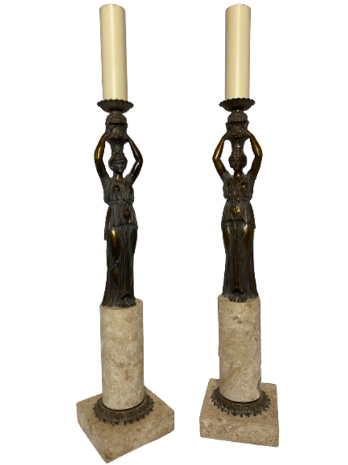 Fine Arts Guilted Woman Table Lamp Pair