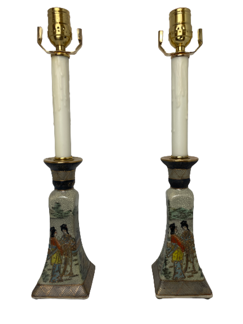 Pair of Vintage Candle Stick Table Lamps