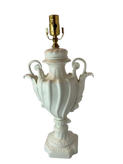 Vintage White Ceramic Table Lamp