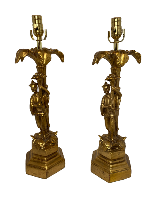 Pair of Vintage Antique Gold Asian Table Lamps