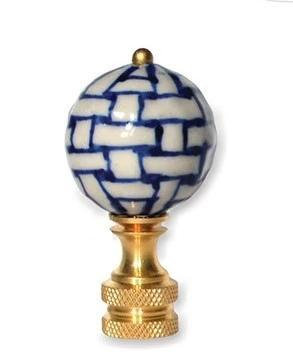 Blue and White Basket Weave Finial