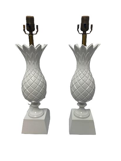 Vintage Custom Painted Table Lamp Pair