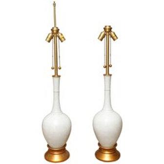 Beautiful Pair of Vintage Marbro Porcelain Table Lamps w/ Custom Lampshad