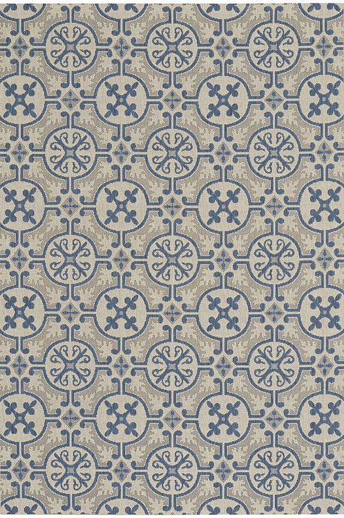 Tile Collection Outdoor Rug in Capri Blue