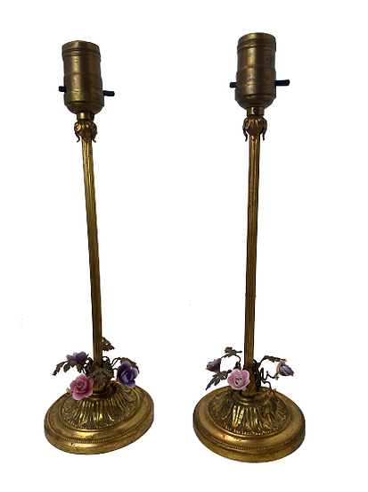 Pair of 1920's Vintage Tole Table Lamps