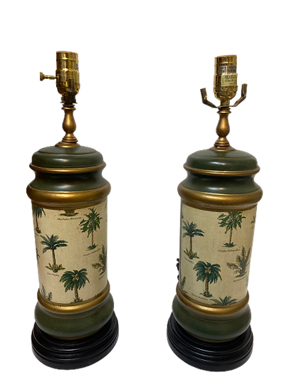 Vintage Tole Green Painted Table Lamp Pair