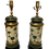 Thumbnail: Vintage Tole Green Painted Table Lamp Pair