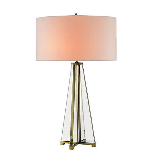 Pyramid Crystal and Brass Table Lamp