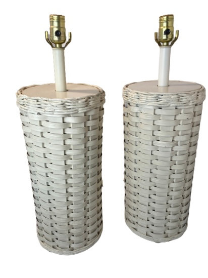 Pair of Vintage Rattan Table Lamps