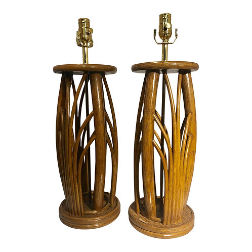 Pair of Vintage Bamboo Table Lamps