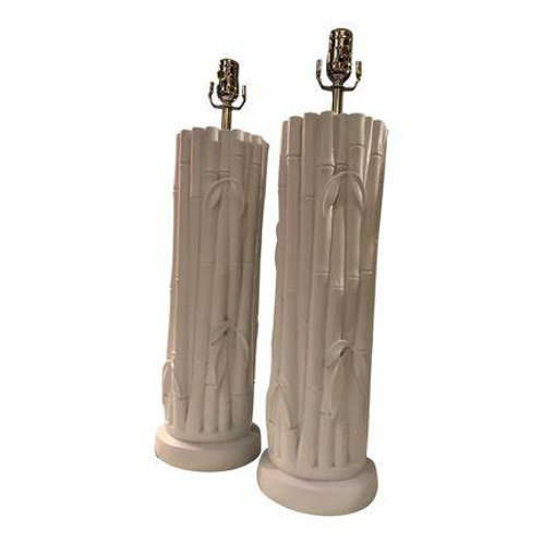 Vintage Palm Beach Ceramic Bamboo Lamp Pair