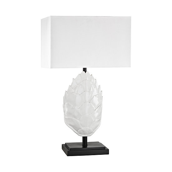 White Turtle Shell Outdoor Table Lamp with White Sunbrella Shade