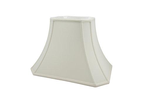 "Cut Corner Rectangle Bell Softshade in Bone or Egg Shantung 10"" - 18"""