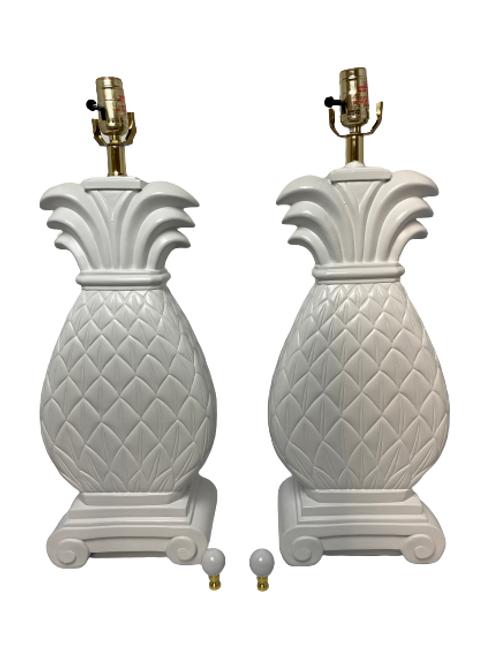 Custom Painted Ceramic Pineapple Table Lamp Pair